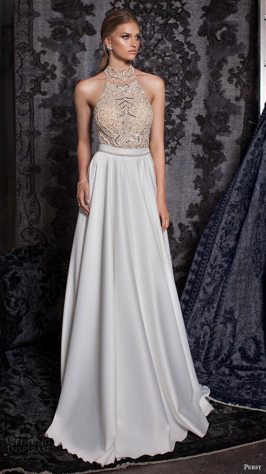 persy bridal fall 2016 sleeveless halter neck aline wedding dress embellished bodice (12) mv