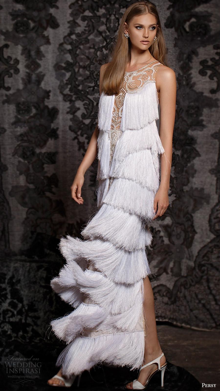 persy bridal fall 2016 sleeveless illusion jewel neck column wedding dress (09) mv tiered fringe