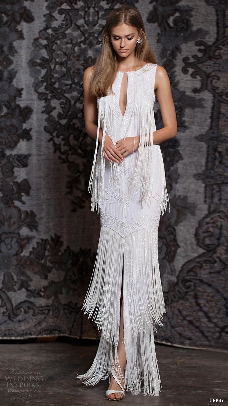 persy bridal fall 2016 sleeveless jewel neck keyhole trumpet wedding dress (08) mv fringe