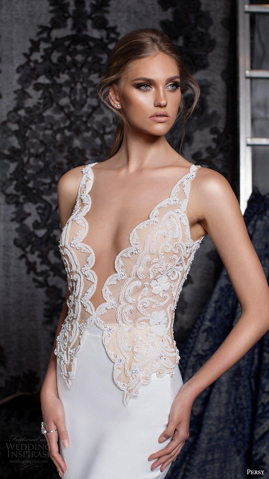 persy bridal fall 2016 sleeveless strap deep vneck wedding dress (18) mv