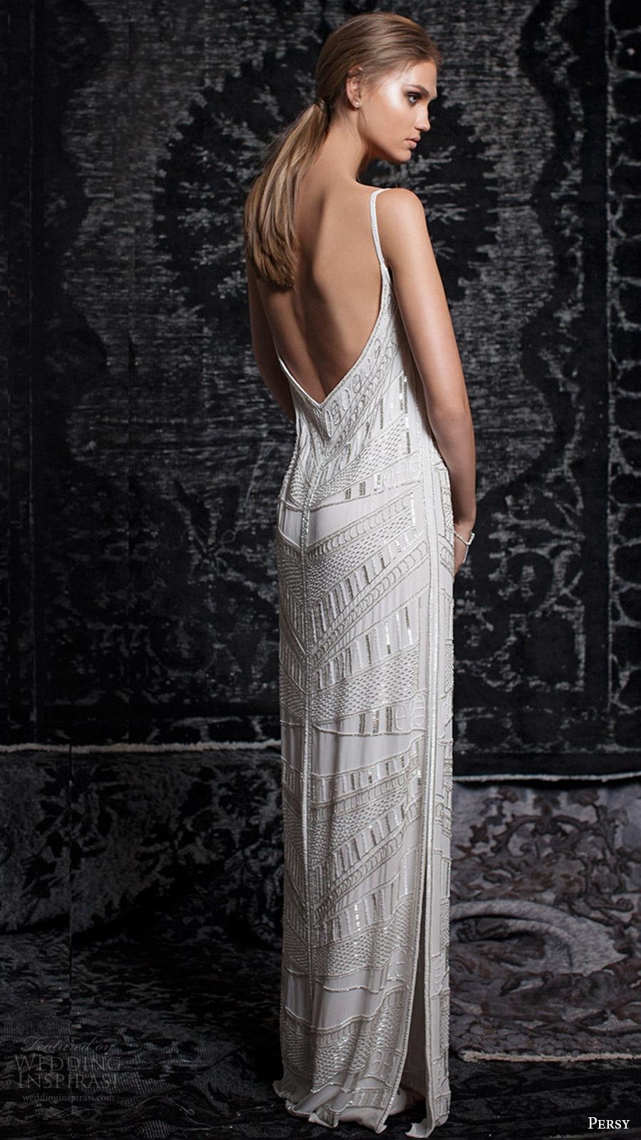 persy bridal fall 2016 sleeveless strap vneck column wedding dress (16) bv side slit low back