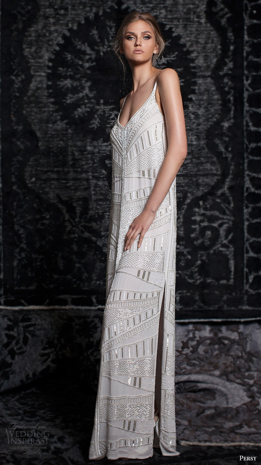 persy bridal fall 2016 sleeveless strap vneck column wedding dress (16) mv side slit