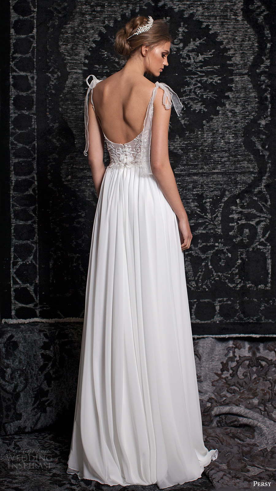 persy bridal fall 2016 sleeveless tie straps scoop neck aline wedding dress (02) bv slit skirt