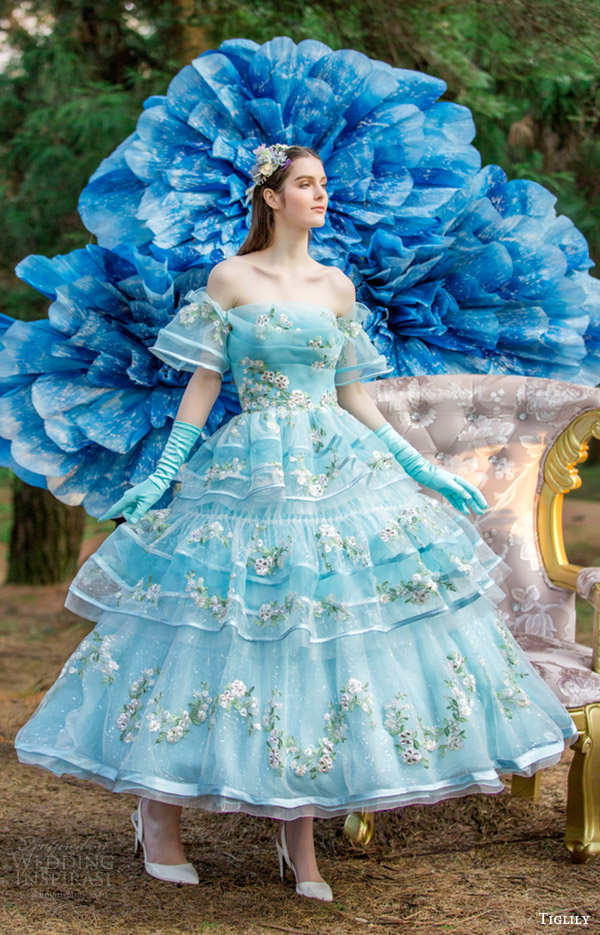Blue And Purple Wedding Dress 89 Good tiglily bridal off shoulder
