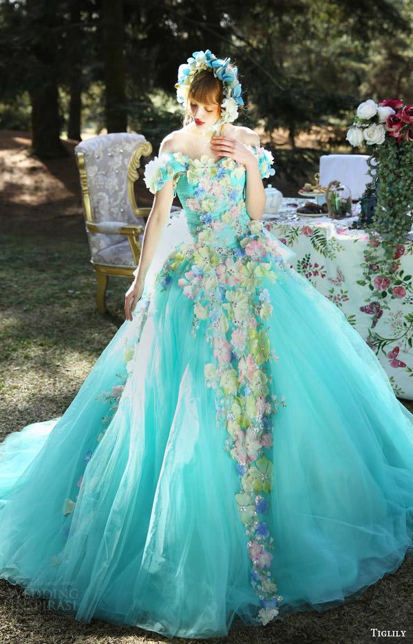 Blue Colored Wedding Dresses 31 Unique tiglily bridal off shoulder