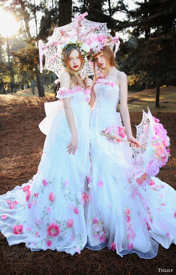 tiglily bridal 2016 off shoulder wedding dresses pink flowers heidi and michael