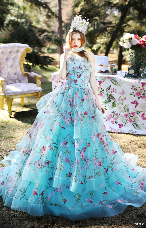 tiglily bridal 2016 strapless crumbcatcher ball gown wedding dress (julia) mv turquoise color romantic