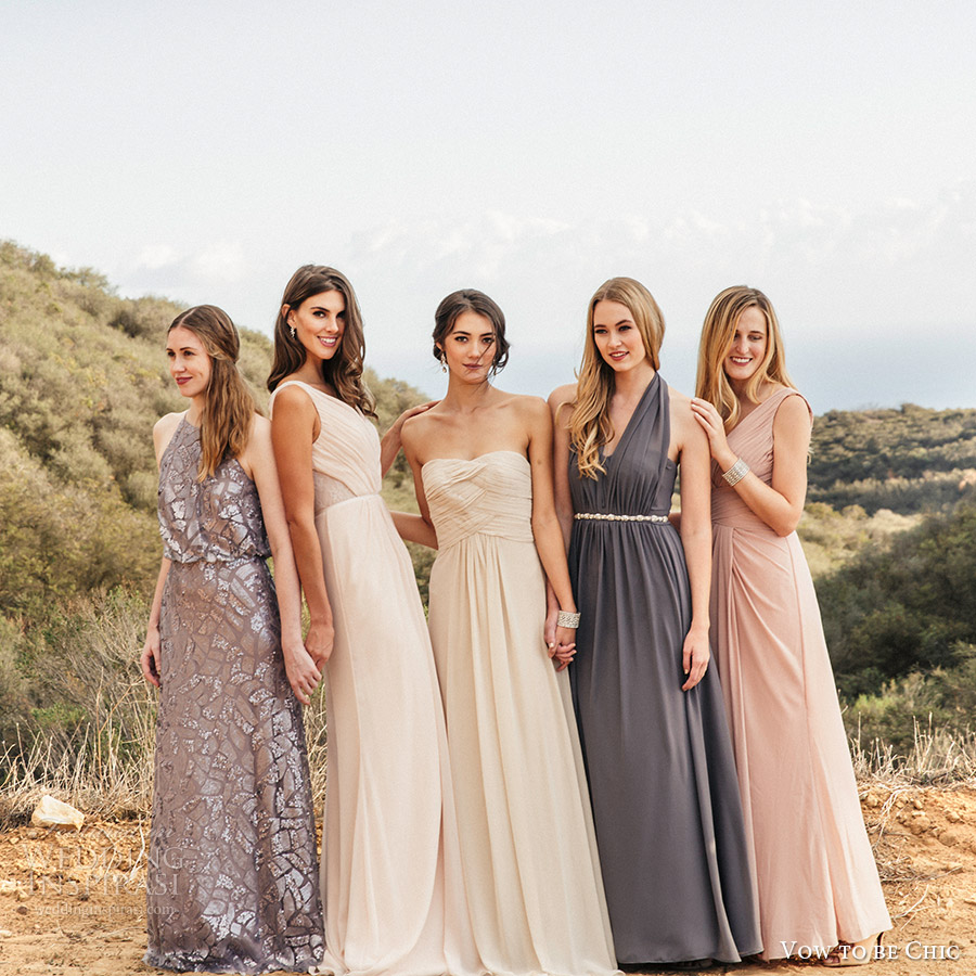 Vow To Be Chic 2016 Metallics Silver Gray Blush Neutral Mix Match Bridesmaid Dresses For