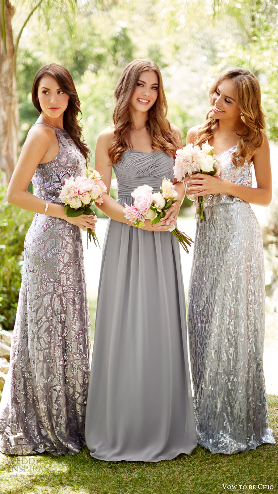 8ec60809461 vow to be chic 2016 metallics silver grey gray bridesmaids bridal party bridesmaid  dresses for rent