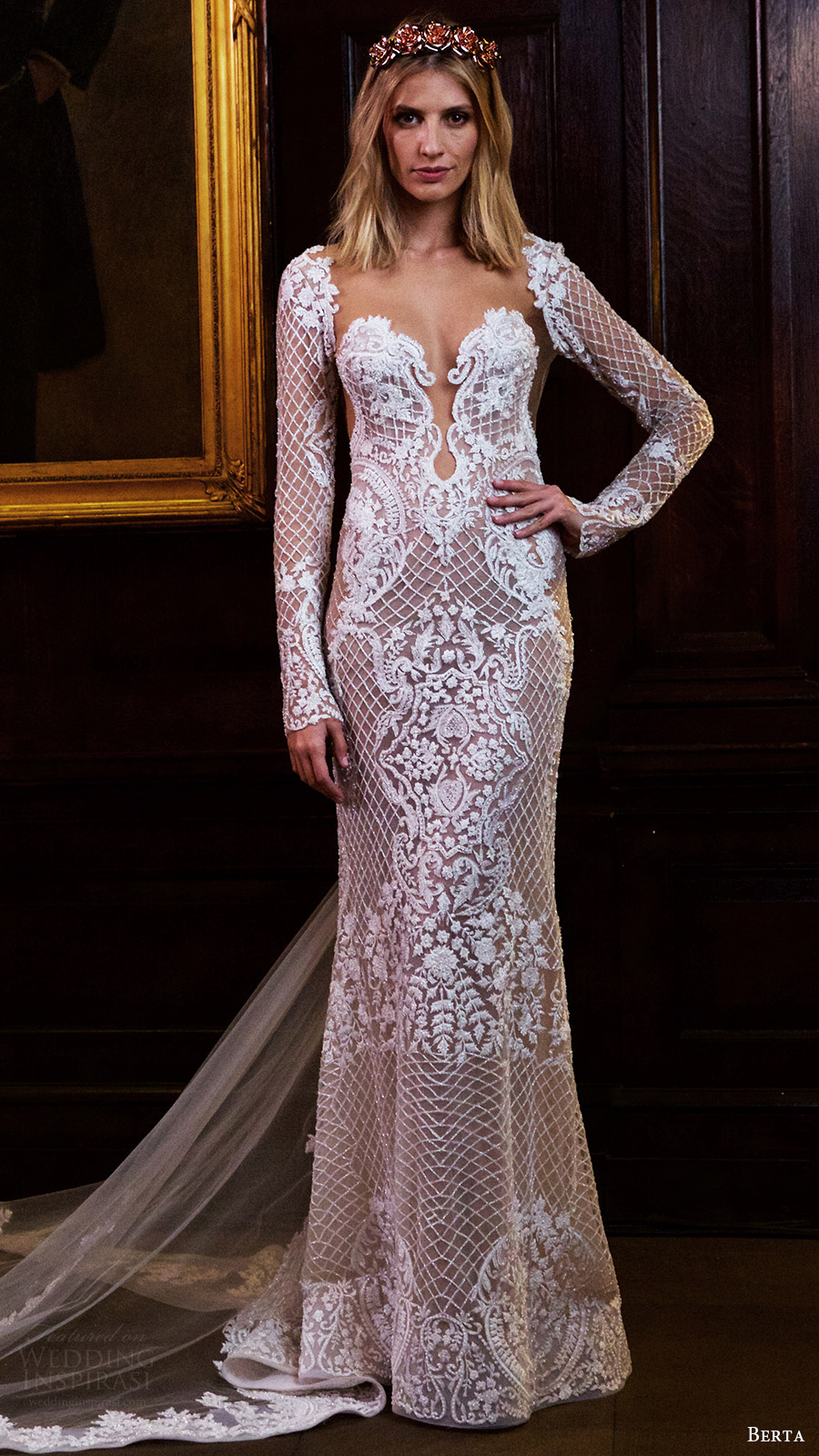 berta bridal fall 2016 long sleeves split sweetheart fully beaded sheath wedding dress (16 123) mv train