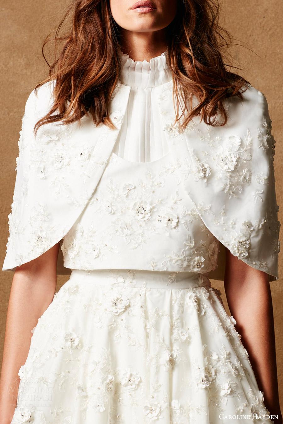 caroline hayden bridal 2017 embellished tulle cape (ch017) mv