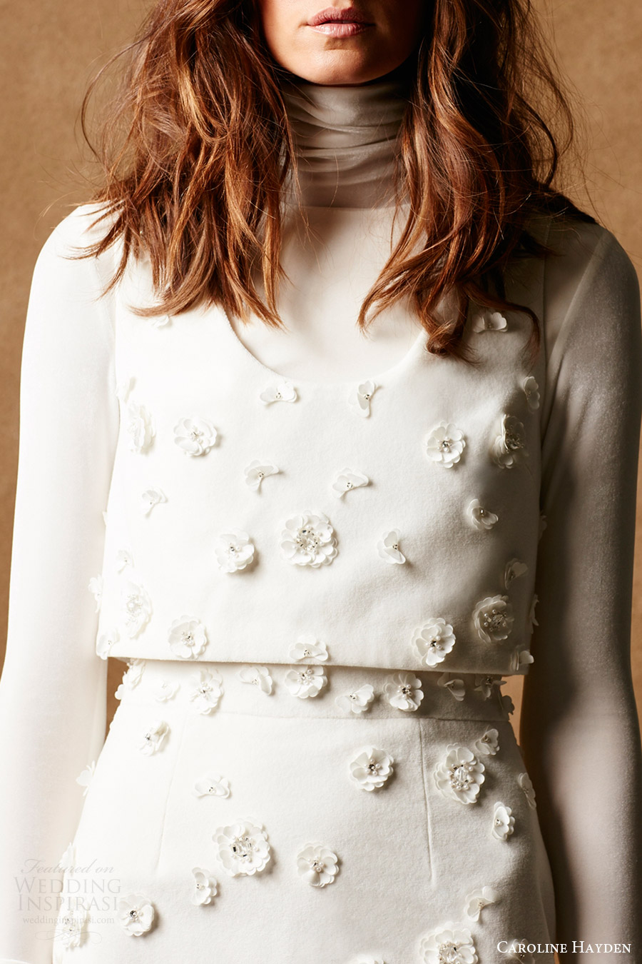caroline hayden bridal 2017 long sleeve turtleneck skirt vest (ch022 ch023 ch024 ivory) zv