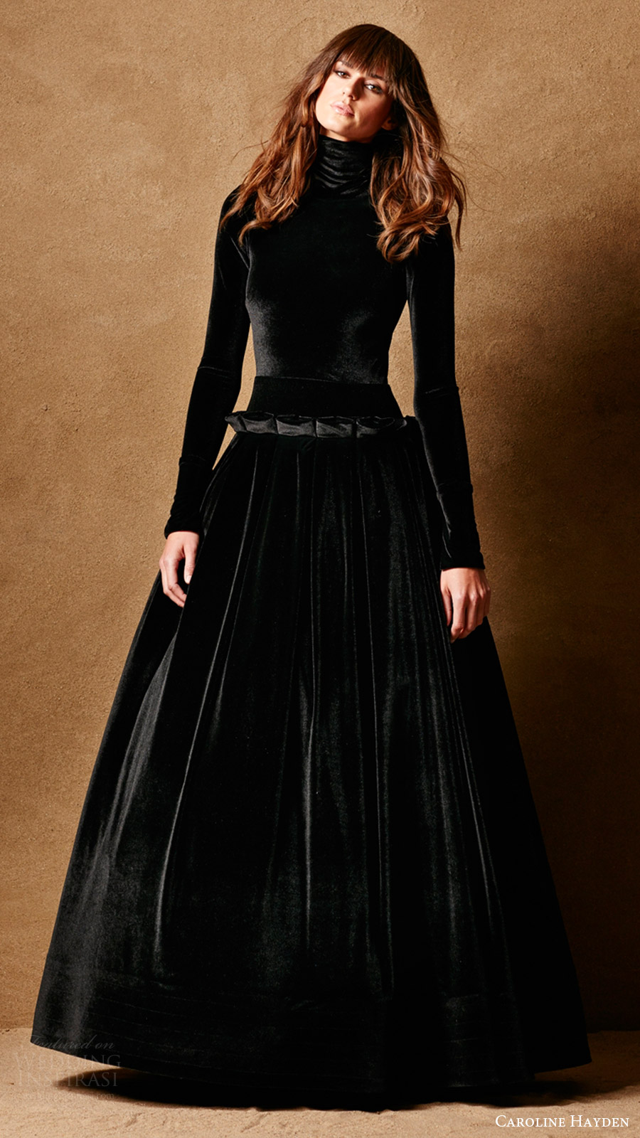 Caroline Hayden Bridal 2017 Long Sleeves High Neck Ball Gown Wedding Dress Ch007 Black