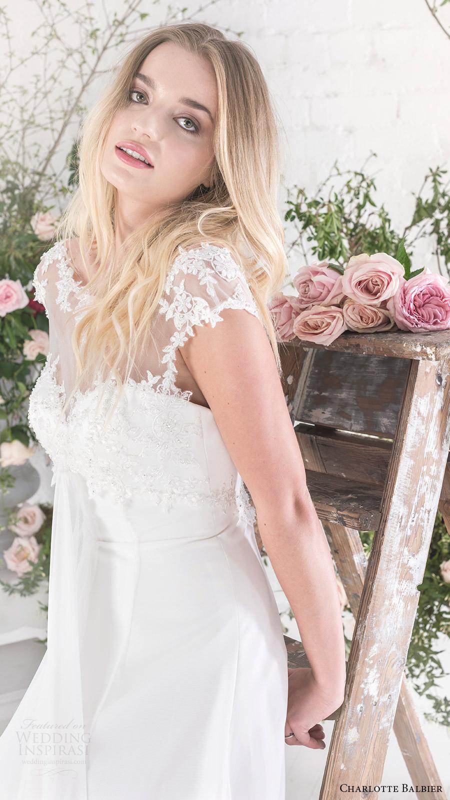 charlotte balbier bridal 2017 cap sleeves illusion bateau neck aline wedding dress (sofia) zv