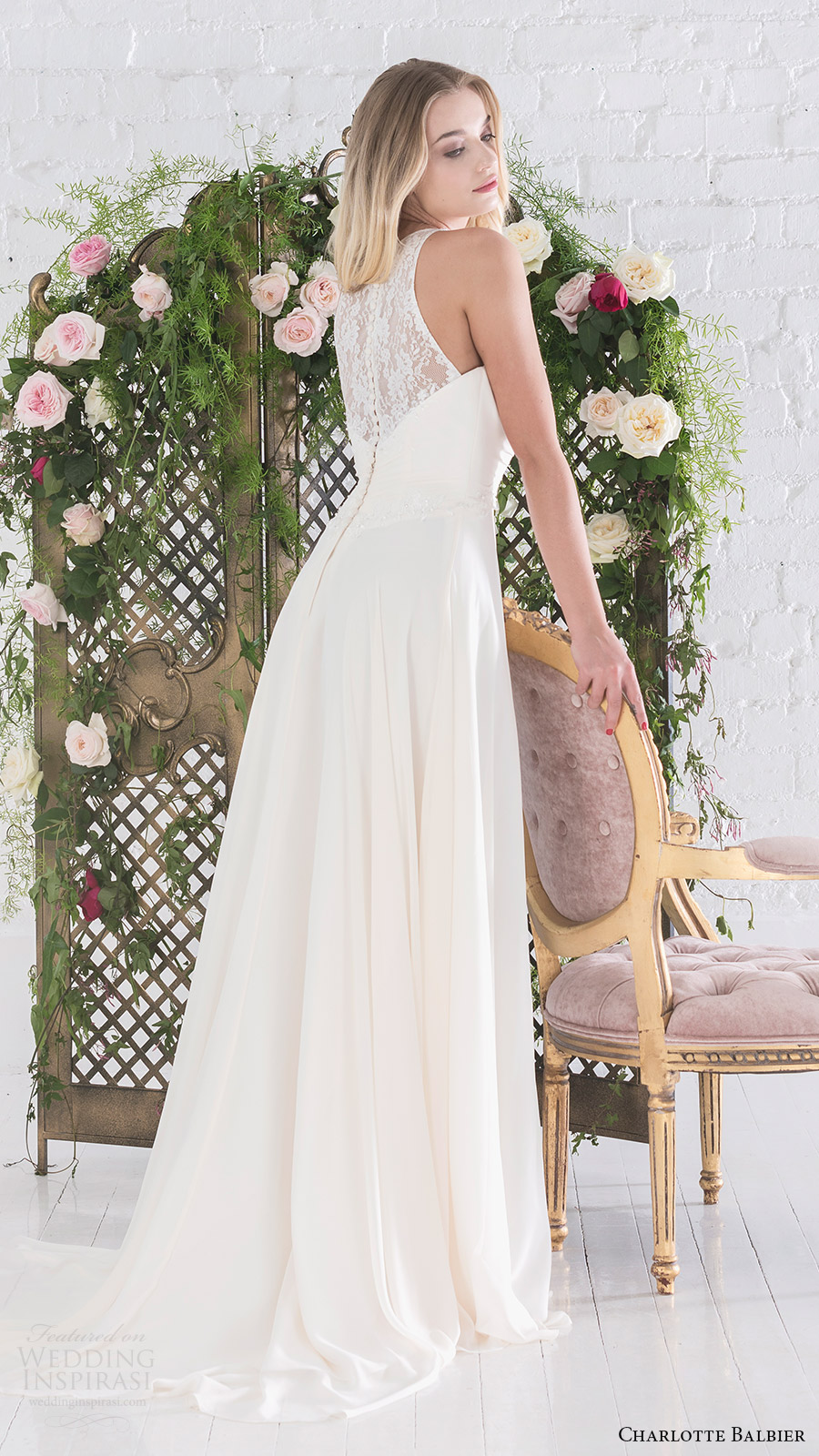 charlotte balbier bridal 2017 sleeveless sweetheart illusion halter aline wedding dress (aphrodite) bv sheer back train