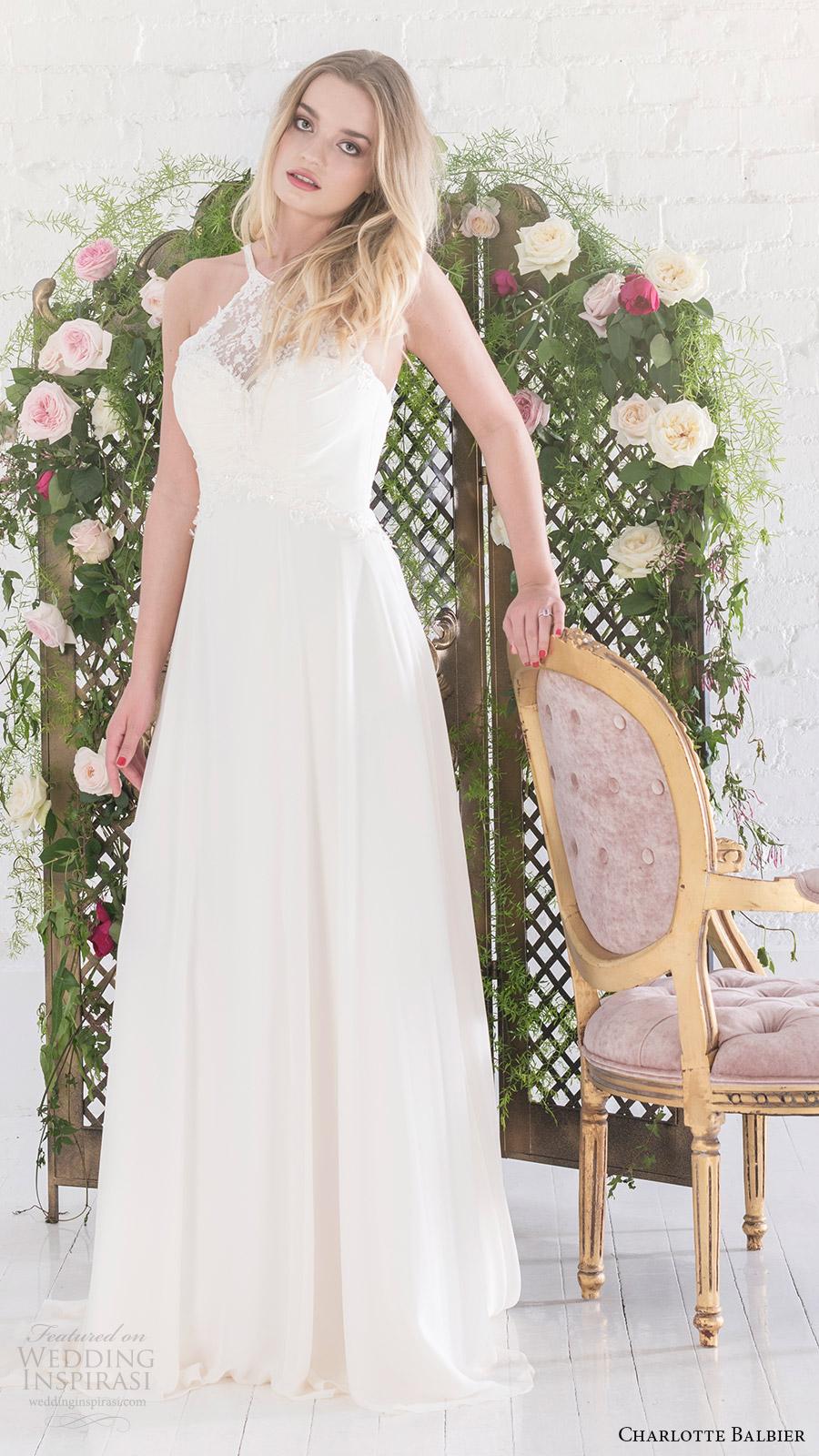 charlotte balbier bridal 2017 sleeveless sweetheart illusion halter aline wedding dress (aphrodite) mv