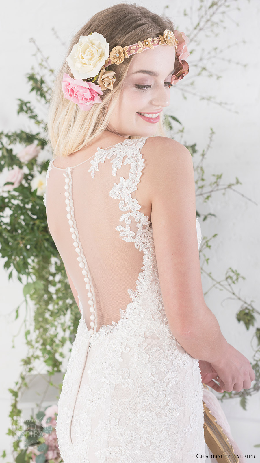 charlotte balbier bridal 2017 sleeveless sweetheart trumpet wedding dress (paige) zbv sheer back