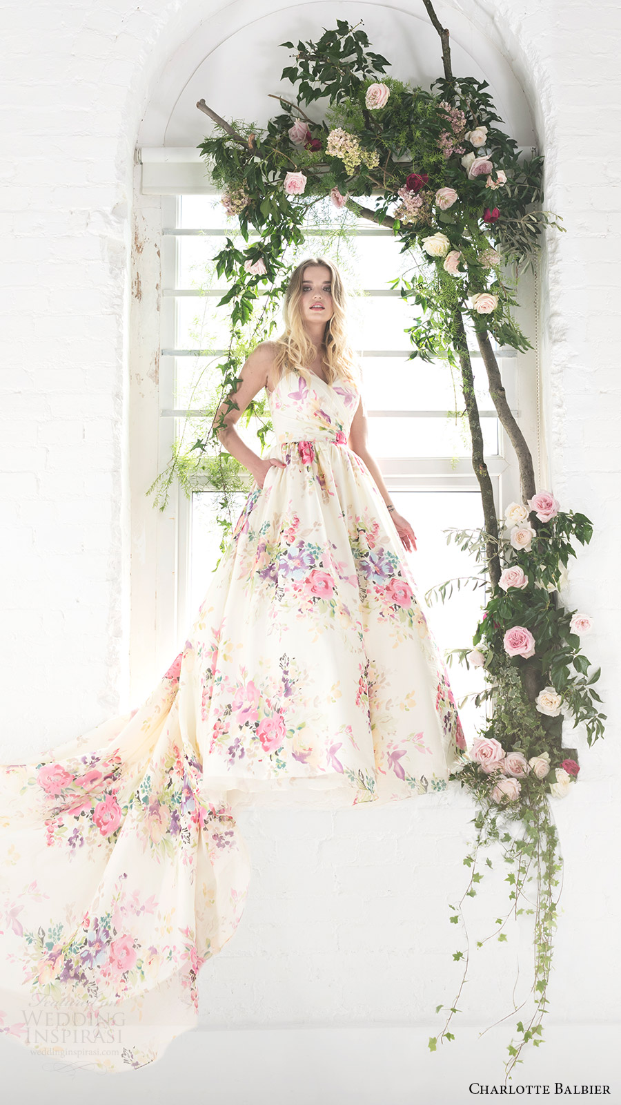 charlotte balbier bridal 2017 sleeveless vneck ball gown wedding dress (untamed love) fv long train