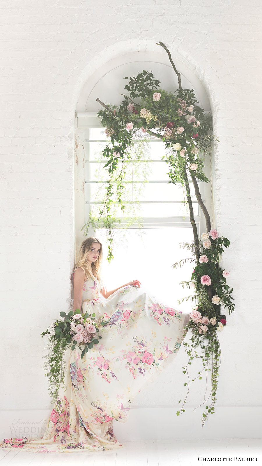 charlotte balbier bridal 2017 sleeveless vneck ball gown wedding dress (untamed love) sv floral print multicolor