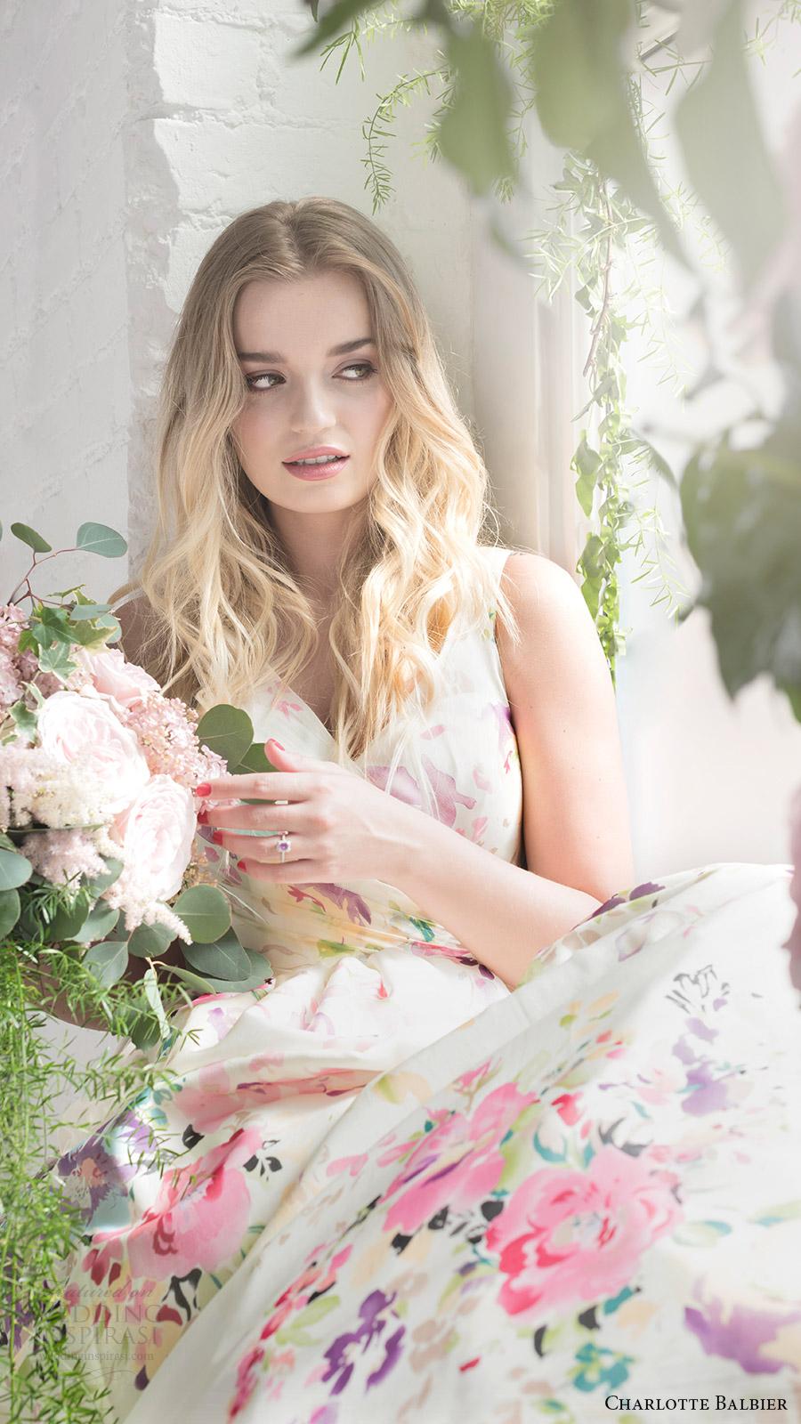 charlotte balbier bridal 2017 sleeveless vneck ball gown wedding dress (untamed love) zv floral print multicolor