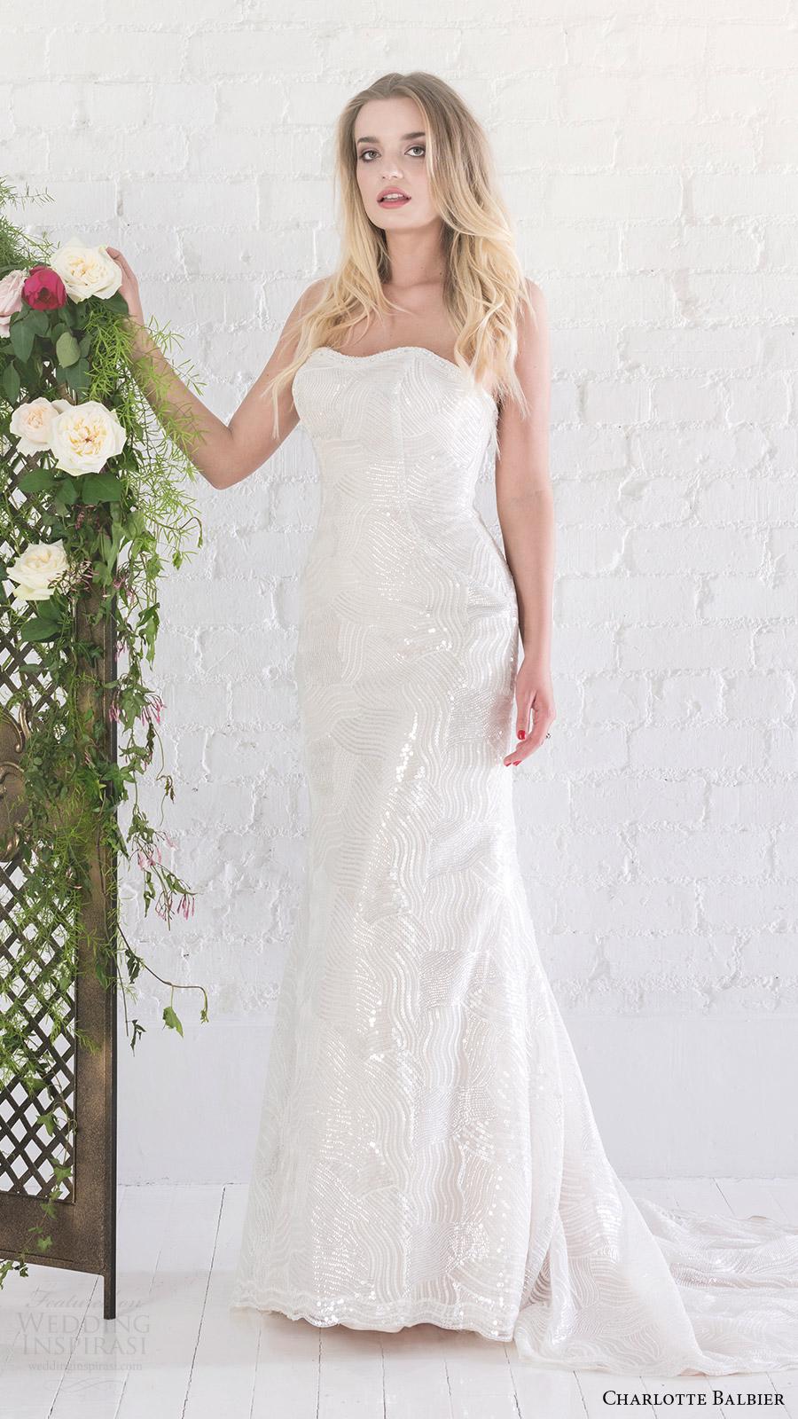 charlotte balbier bridal 2017 strapless semi sweetheart bayley beaded sheath wedding dress (bayley) v