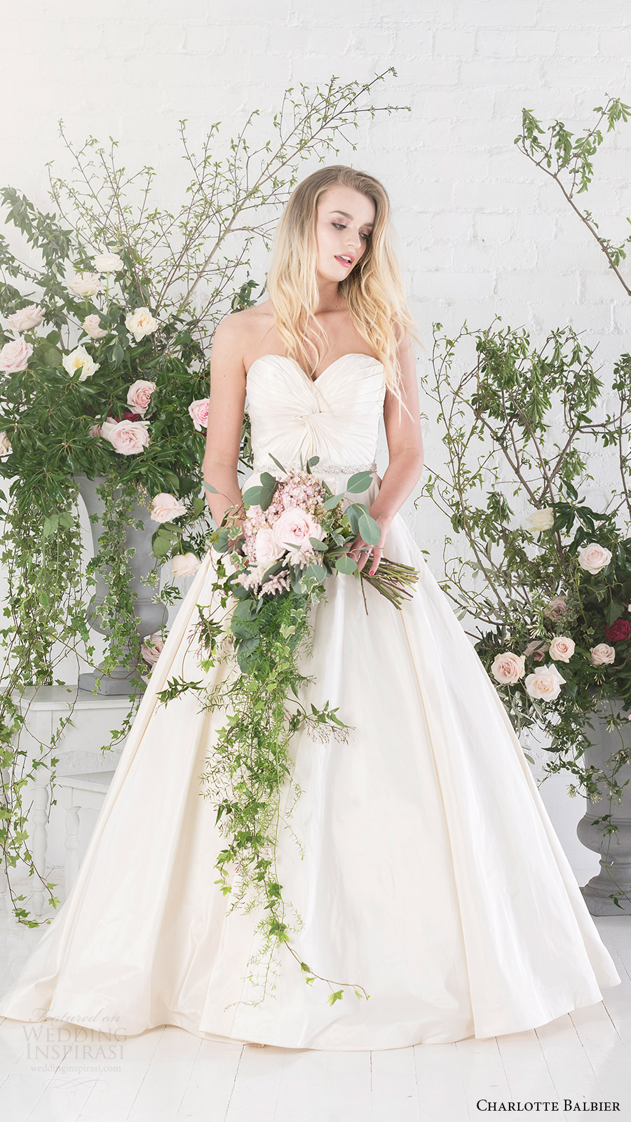 charlotte balbier bridal 2017 strapless sweetheart aline wedding dress (agatha) fv pockets
