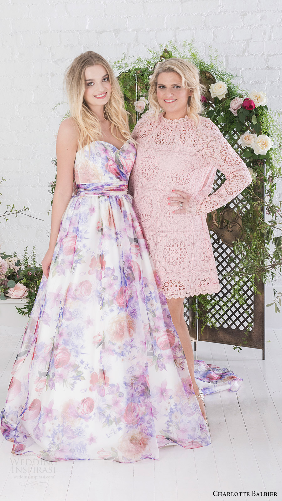 charlotte balbier bridal 2017 strapless sweetheart ball gown wedding dress (bloom) fv  floral print pockets designer