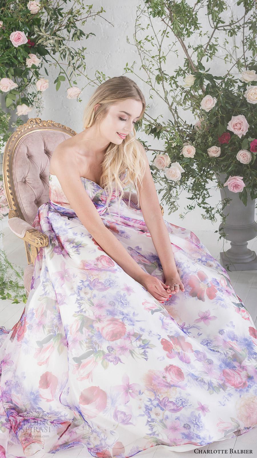 charlotte balbier bridal 2017 strapless sweetheart ball gown wedding dress (bloom) fv   floral print pockets