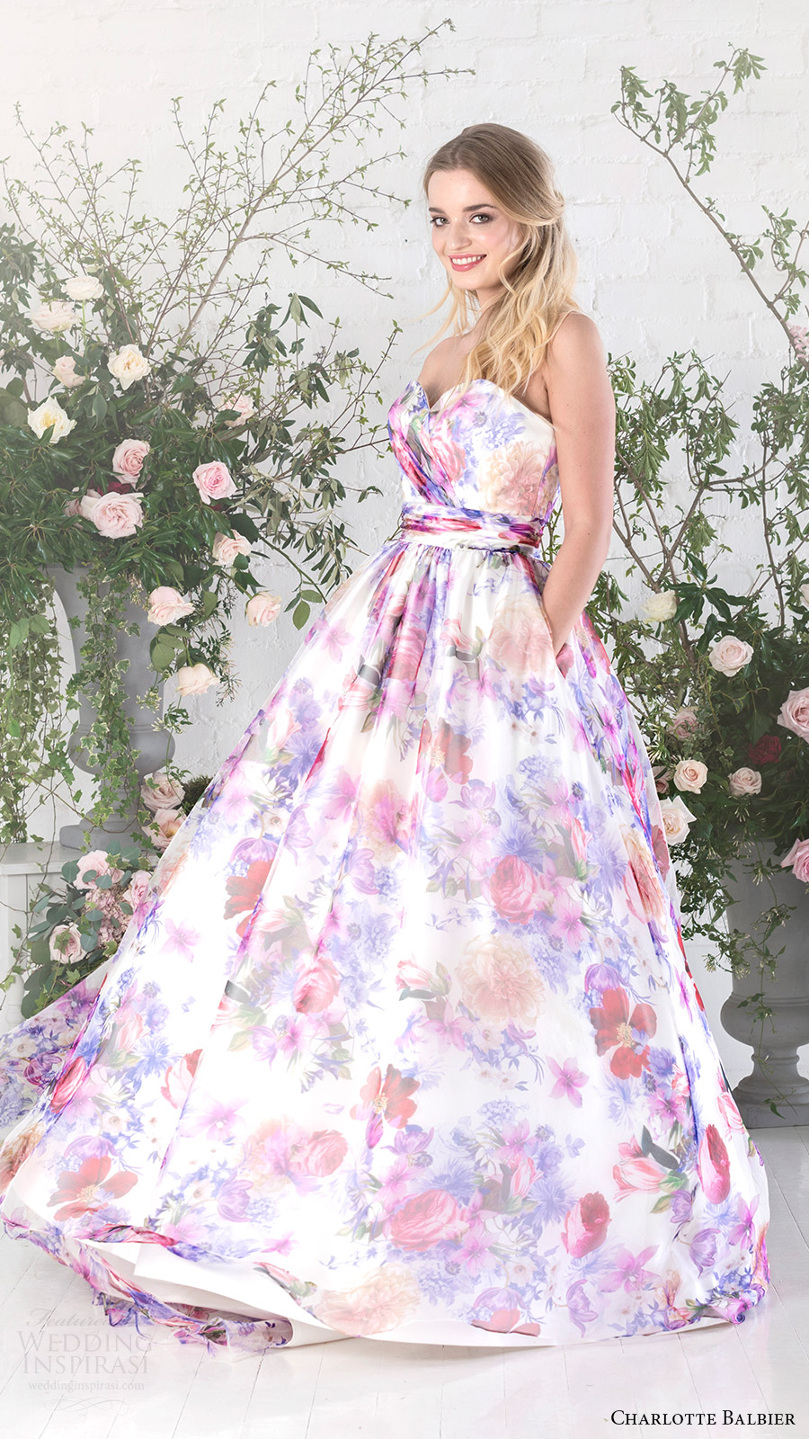 Floral Print Wedding Dresses 7 Fabulous charlotte balbier bridal strapless
