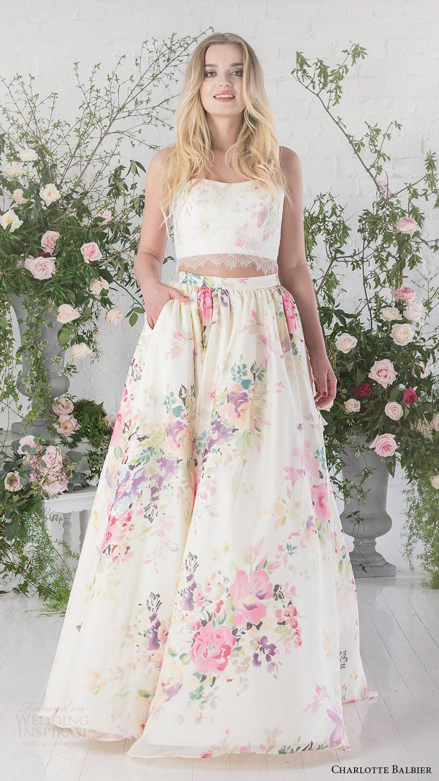 Floral Print Wedding Dresses 10 Cool charlotte balbier bridal strapless