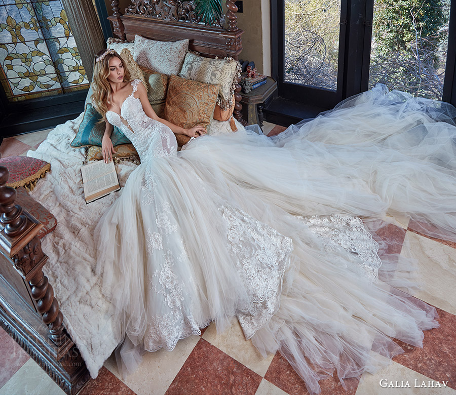 galia lahav bridal spring 2017 cap sleeves split sweetheart lace mermaid wedding dress (rihanna) mv long train