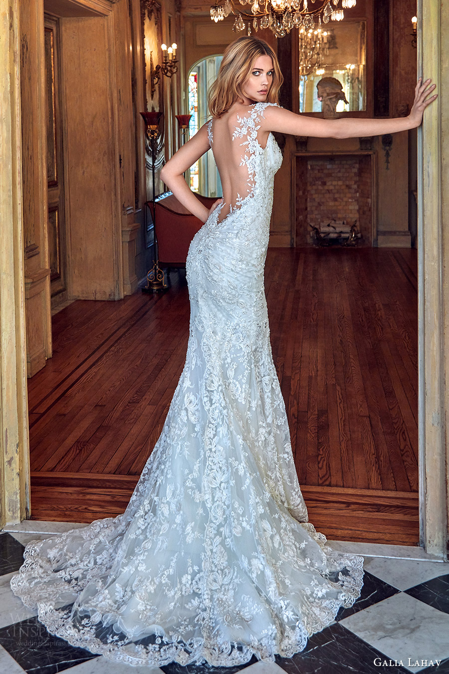 galia lahav bridal spring 2017 cap sleeves sweetheart mermaid lace wedding dress (desiree) bv low back train