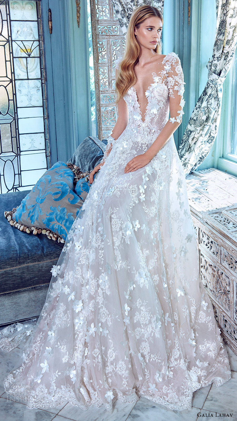 galia lahav bridal spring 2017 illusion long sleees deep vneck aline lace wedding dress (arabella) mv