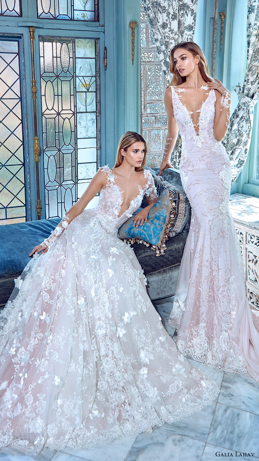 galia lahav bridal spring 2017 illusion long sleees deep vneck wedding dresses (arabella daria) mv