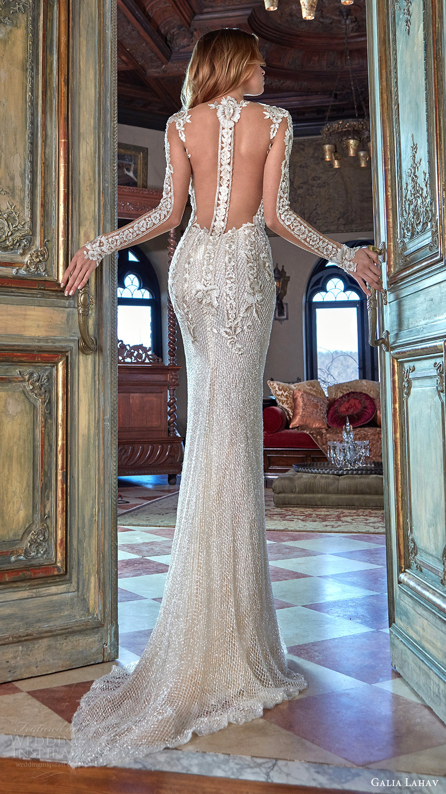 galia lahav bridal spring 2017 illusion long sleeves deep vneck beaded sheath wedding dress (bella) bv illusion back point train