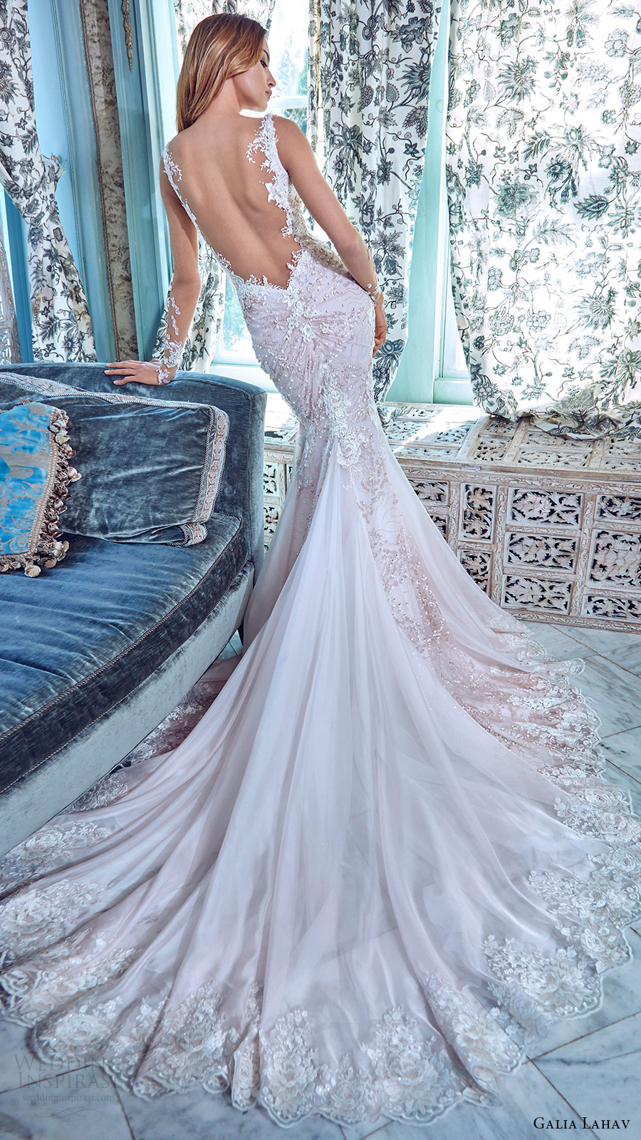 galia lahav bridal spring 2017 illusion long sleeves deep vneck mermaid wedding dress (daria) bv low back train