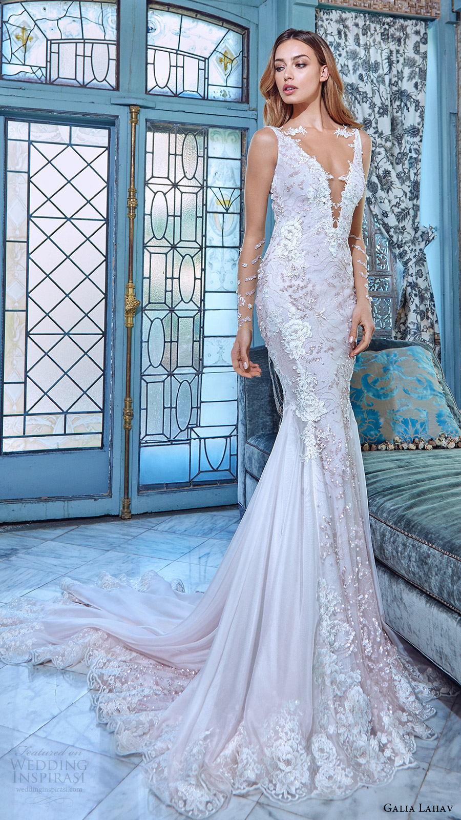 galia lahav bridal spring 2017 illusion long sleeves deep vneck mermaid wedding dress (daria) mv train