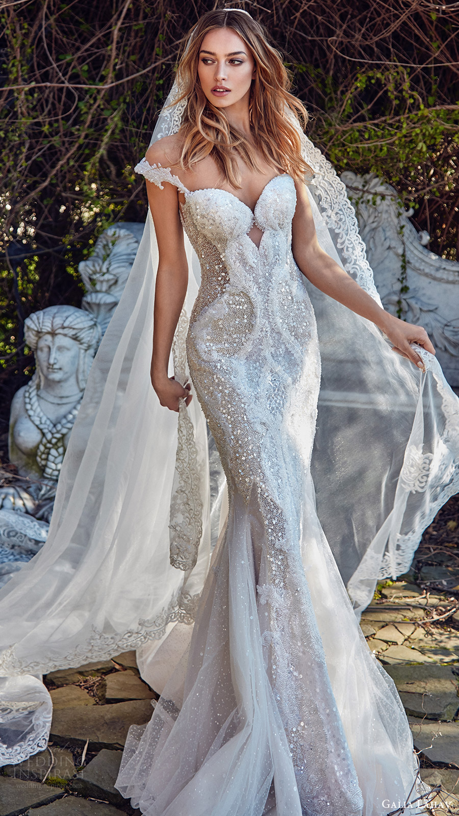 galia lahav bridal spring 2017 off shoulder beaded straps sweetheart trumpet wedding dress (avena) mv