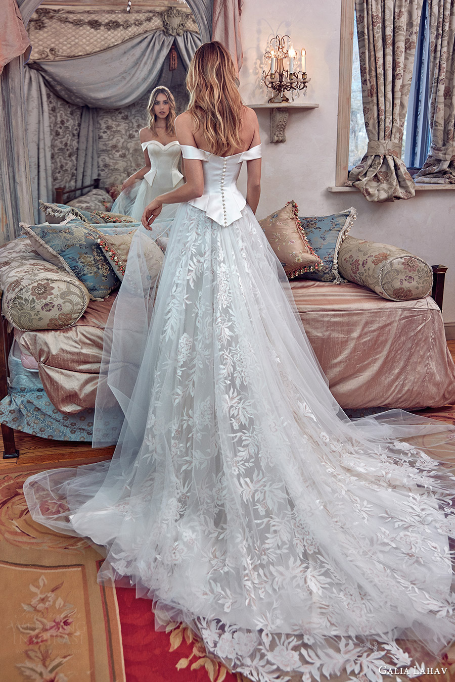 galia lahav bridal spring 2017 off shoulder sheath wedding dress (alexandra) bv peplum ball gown overskirt