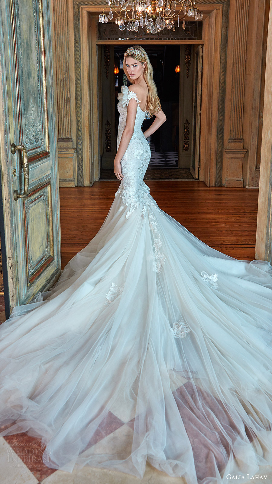 galia lahav bridal spring 2017 off shoulder sweetheart mermaid fit flare wedding dress (tony) bv long train