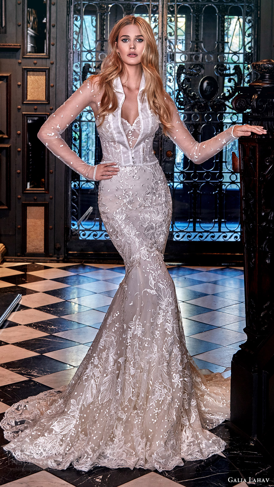 galia lahav bridal spring 2017 strapless sweetheart mermaid fit flare lace wedding dress (lidya) fv train jacket