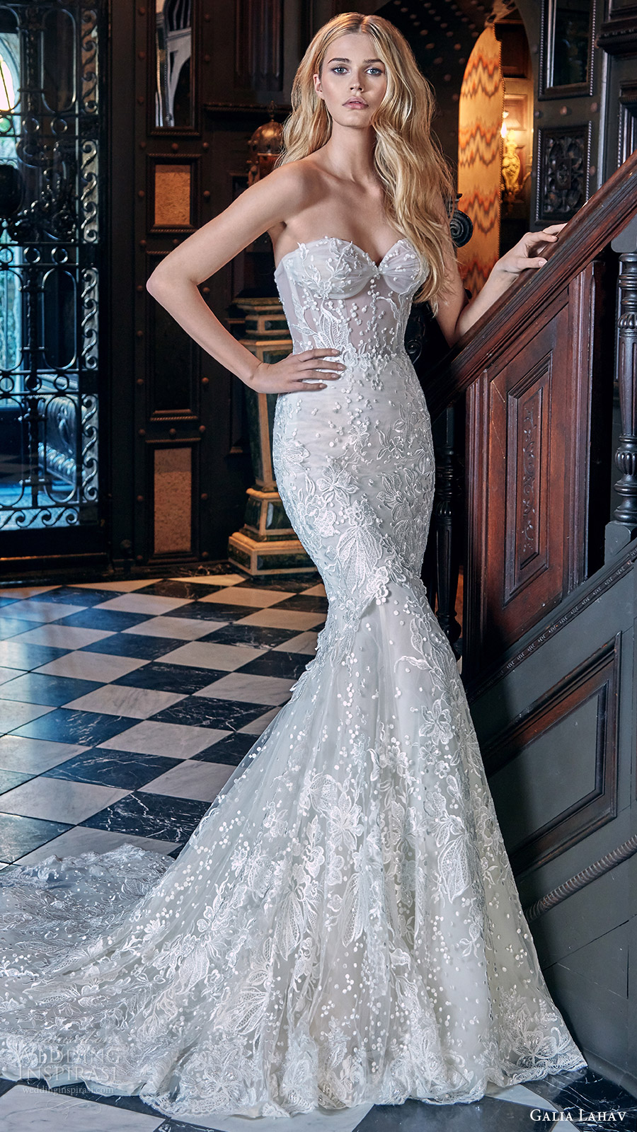galia lahav bridal spring 2017 strapless sweetheart mermaid fit flare lace wedding dress (lidya) mv train