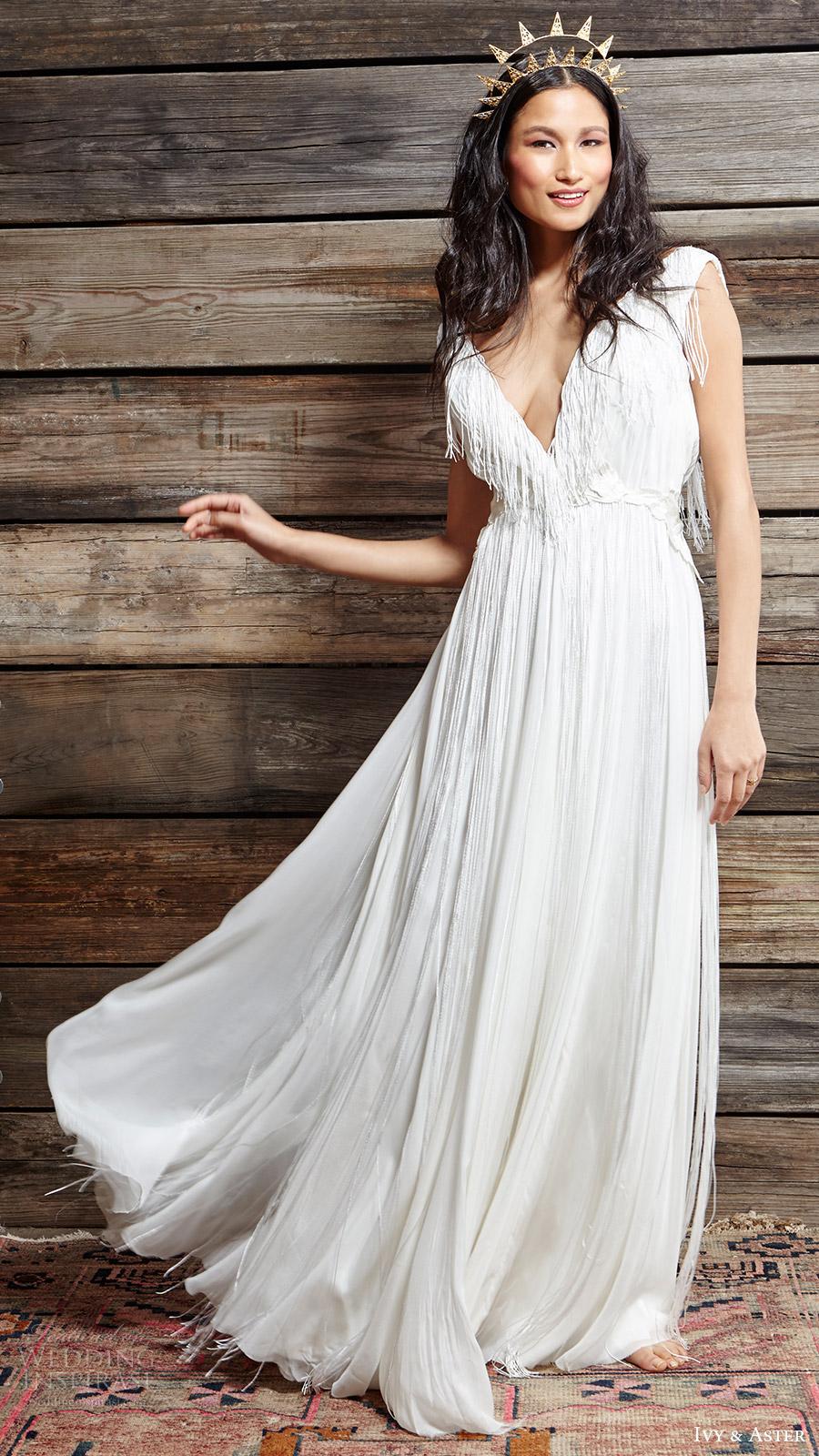 ivy aster bridal spring 2017 cap sleeves deep vneck aline wedding dress (nina) mv