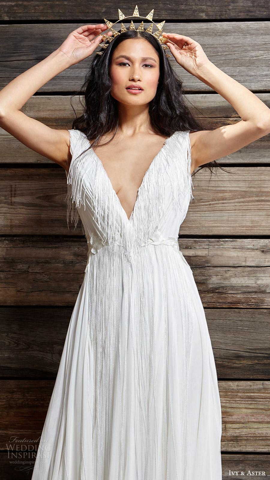 ivy aster bridal spring 2017 cap sleeves deep vneck aline wedding dress (nina) zv
