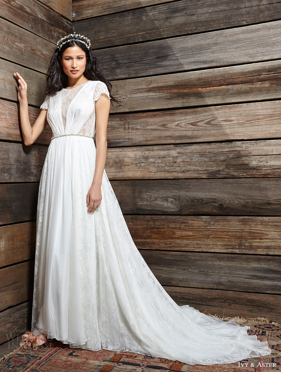 ivy aster bridal spring 2017 cap sleeves illusion jewel neck aline wedding dress (clementine) fv