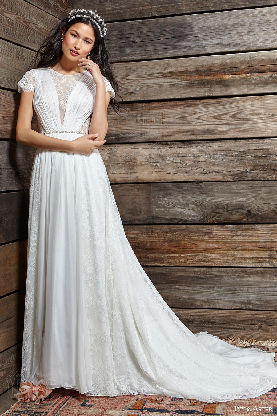 ivy aster bridal spring 2017 cap sleeves illusion jewel neck aline wedding dress (clementine) mv