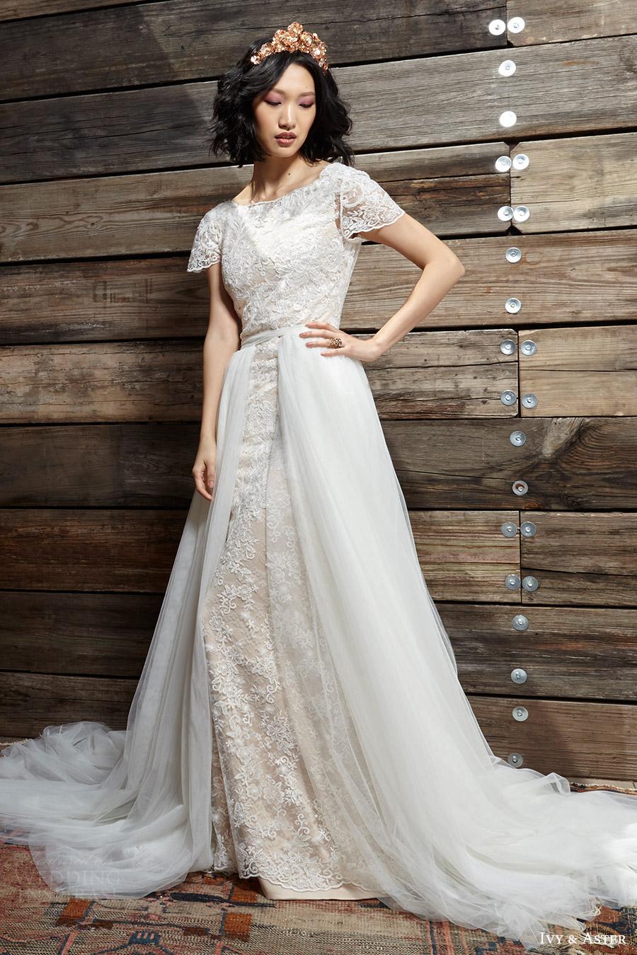 ivy aster bridal spring 2017 cap sleeves jewel neck lace wedding dress (sylvia vera overskirt) fv scoop back