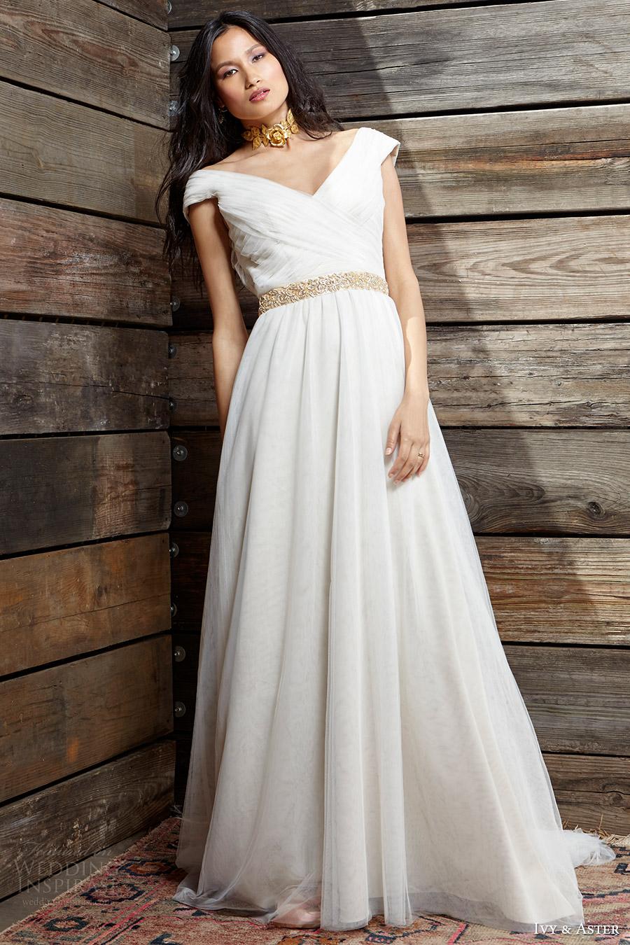 ivy aster bridal spring 2017 cap sleeves off shoulder aline wedding dress (cumberland) mv