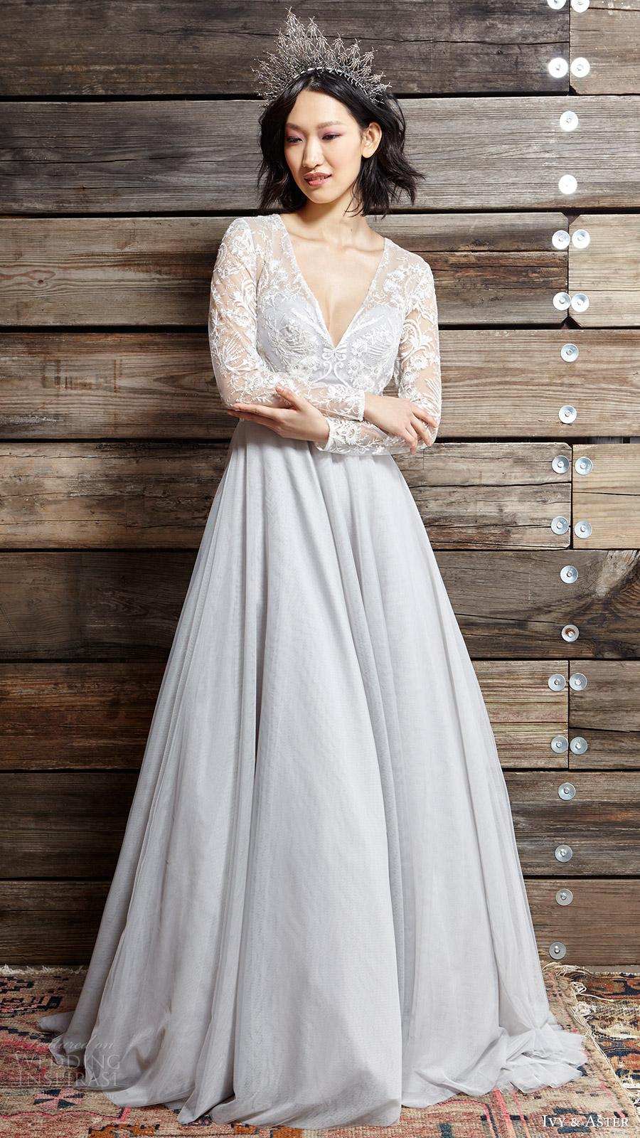 ivy aster bridal spring 2017 illusion long sleeve vneck aline wedding dress (touch of grey) mv
