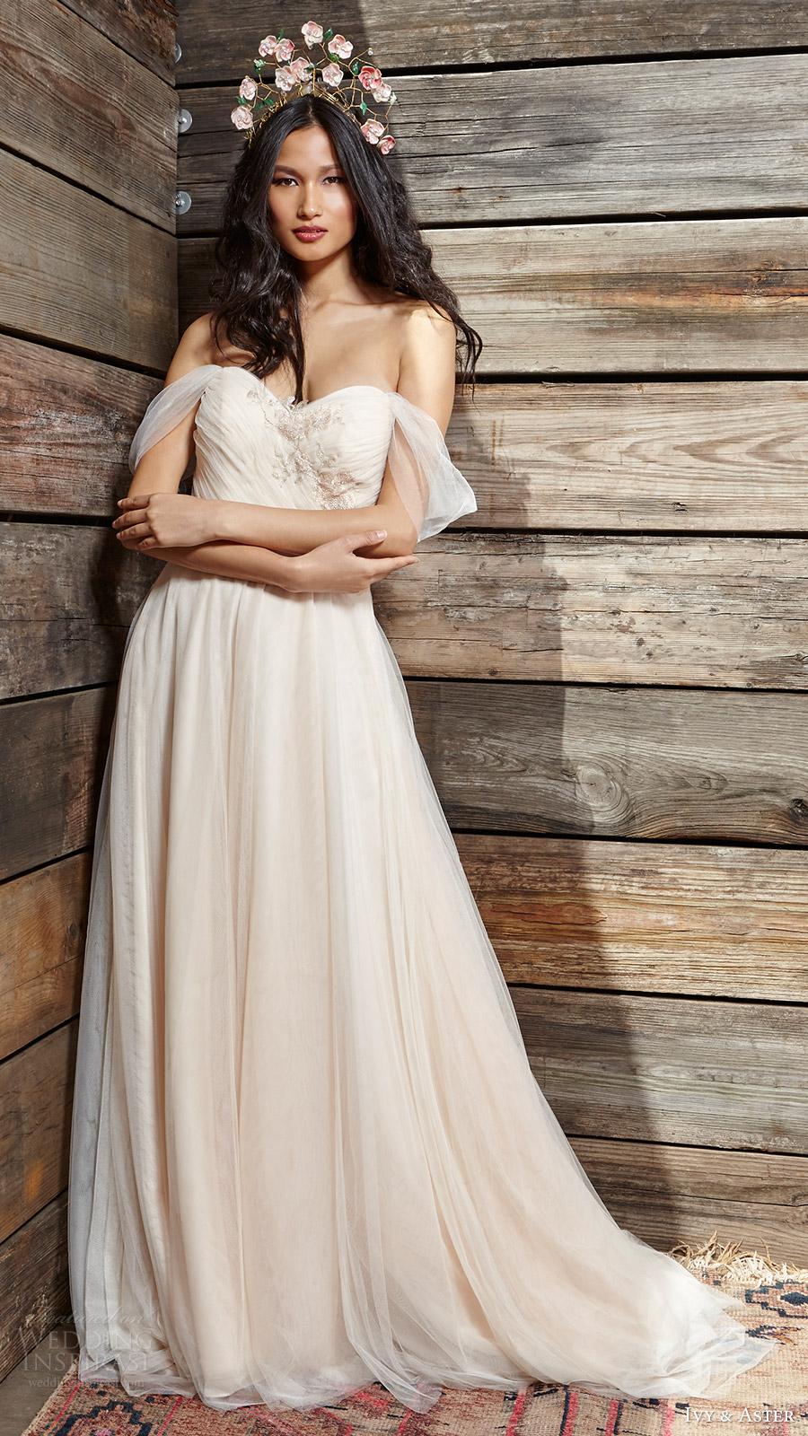 ivy aster bridal spring 2017 off shoulder straps sweetheart aline wedding dress (sunrise) mv